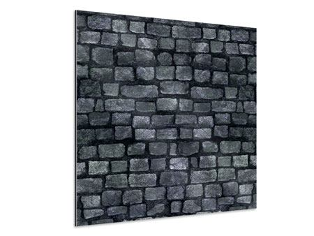 Aluminiumbild Graue Steinmauer