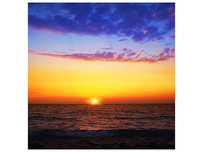 Aluminiumbild Leuchtender Sonnenuntergang