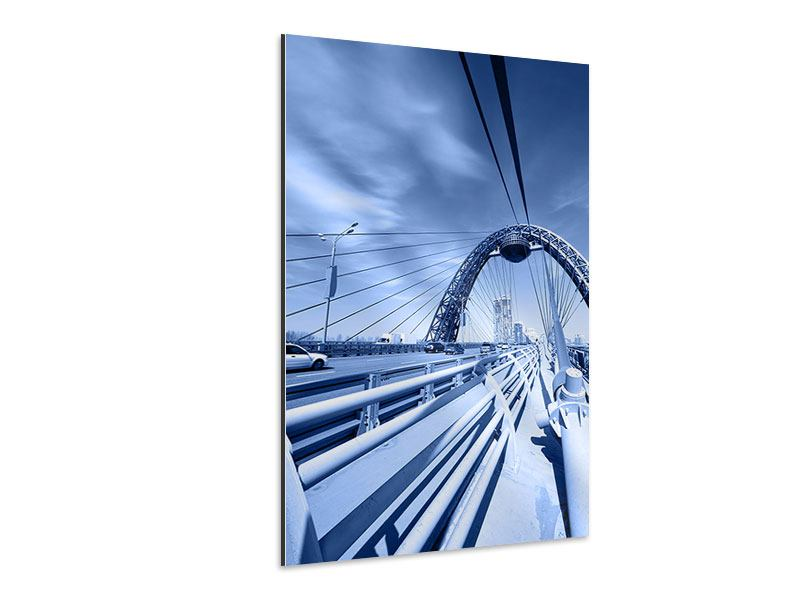Aluminiumbild Moderne Hängebrücke