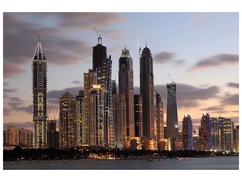 Aluminiumbild Skyline Dubai bei Sonnenuntergang