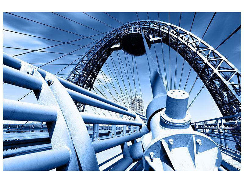 Aluminiumbild Avantgardistische Hängebrücke