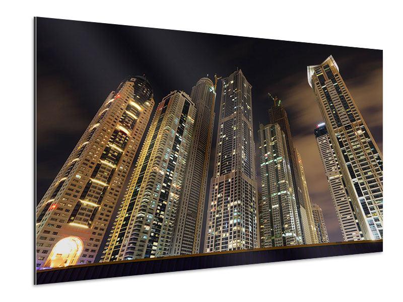 Aluminiumbild Wolkenkratzer Dubai Marina