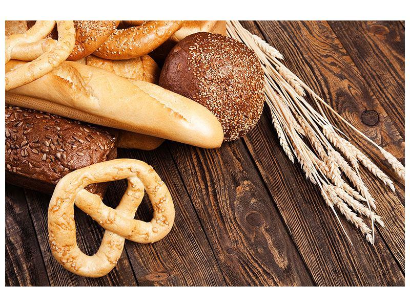 Aluminiumbild Brot und Bretzel