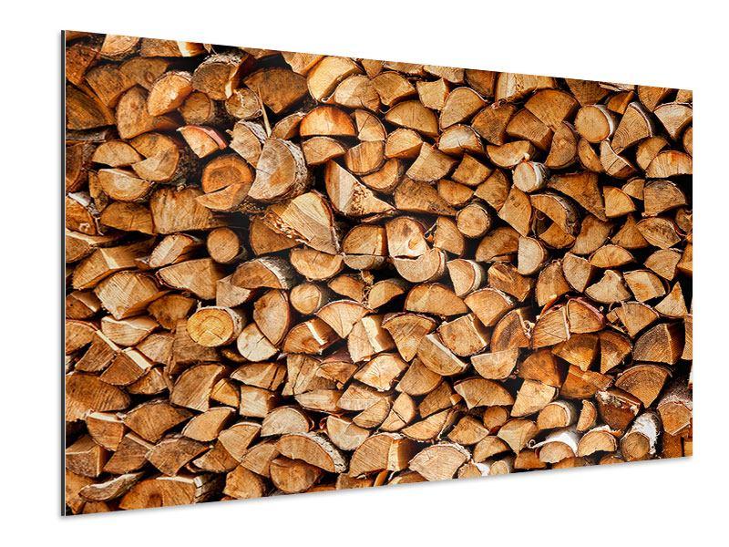 Aluminiumbild Gestapeltes Holz