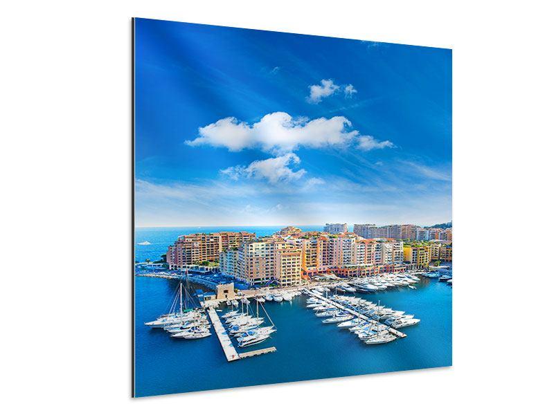 Aluminiumbild Skyline Panoramablick Jachthafen Monaco