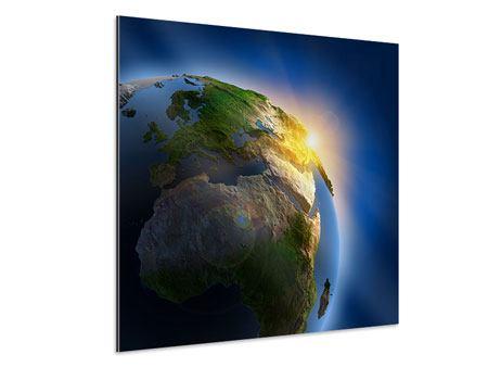 Aluminiumbild Sonne und Erde
