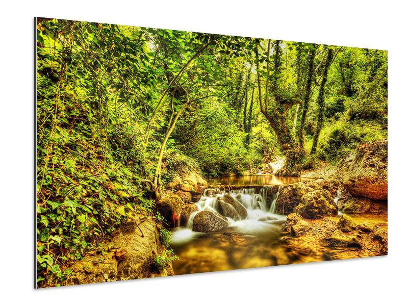 Aluminiumbild Wasserfall im Wald