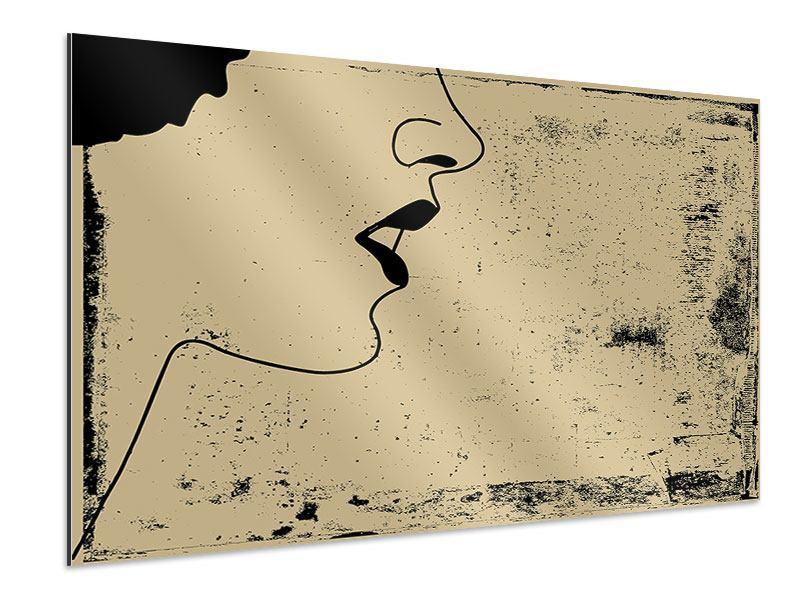 Aluminiumbild Frauenportrait im Grungestil