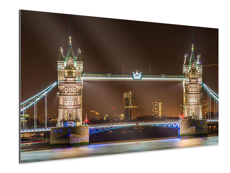 Aluminiumbild Tower Bridge bei Nacht