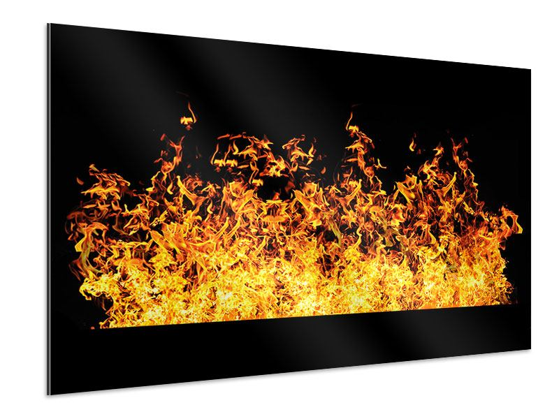Aluminiumbild Moderne Feuerwand