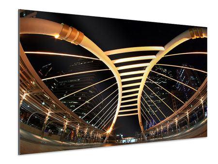 Aluminiumbild Avantgardistische Brücke