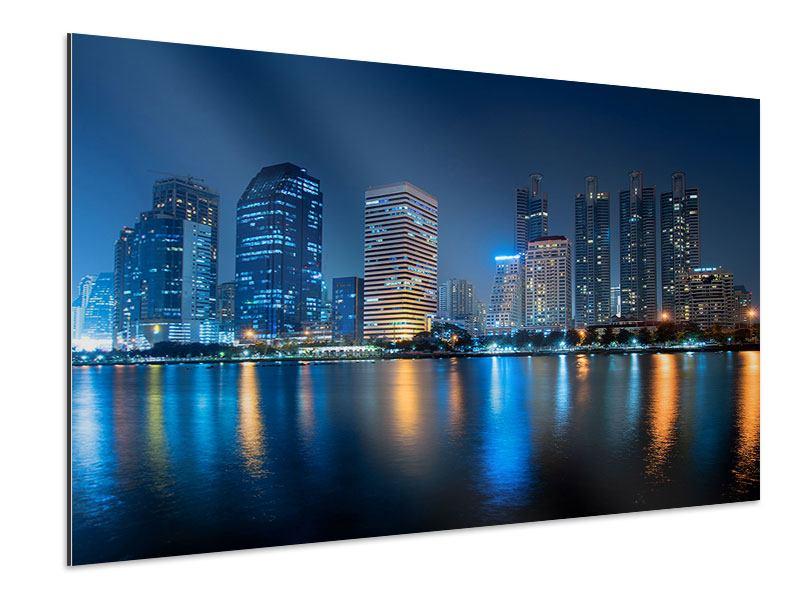 Aluminiumbild Skyline Bangkok bei Nacht