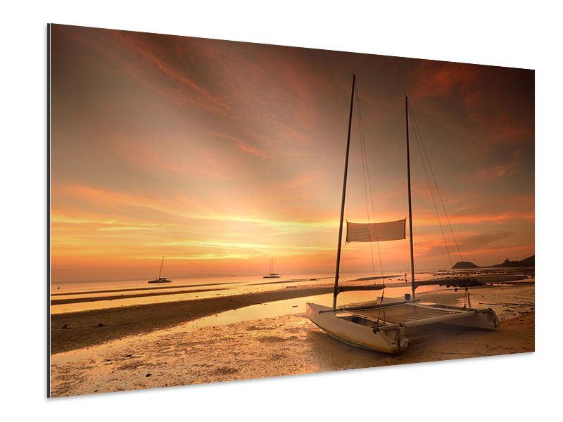 Aluminiumbild Sonnenuntergang am Strand