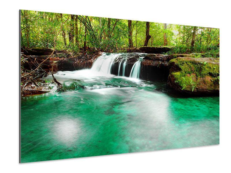 Aluminiumbild Der Fluss am Wasserfall
