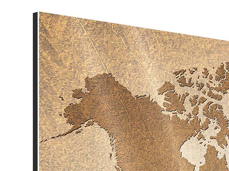 Aluminiumbild Karte der Welt in Vintage