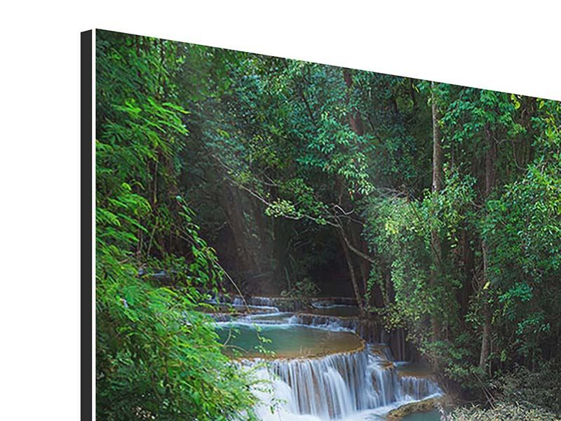 Aluminiumbild Deep Forest Waterfall