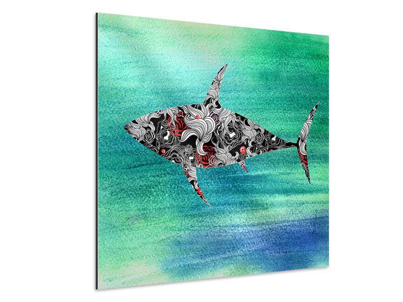 Aluminiumbild Haifisch-Ornament