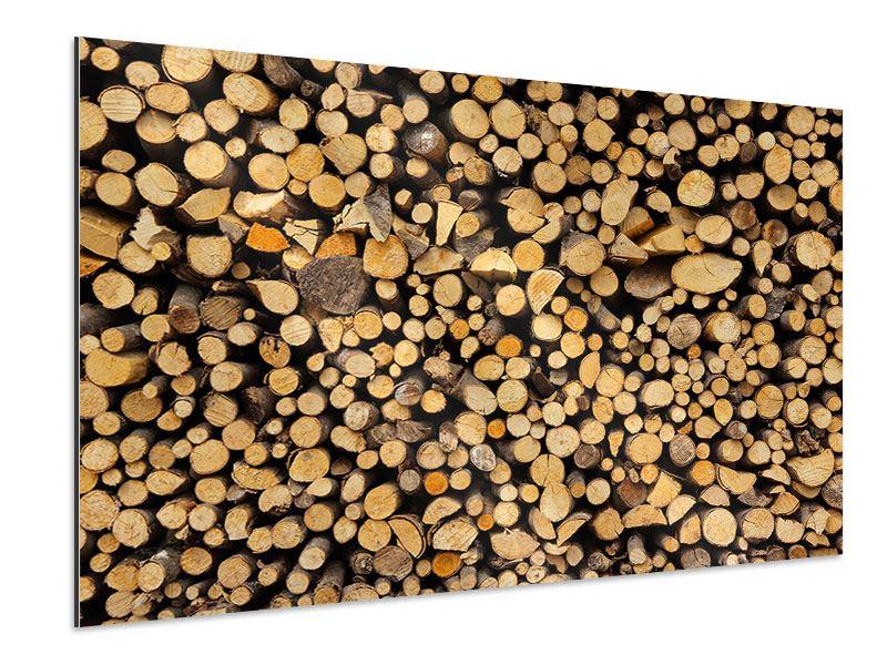 Aluminiumbild Brennholz
