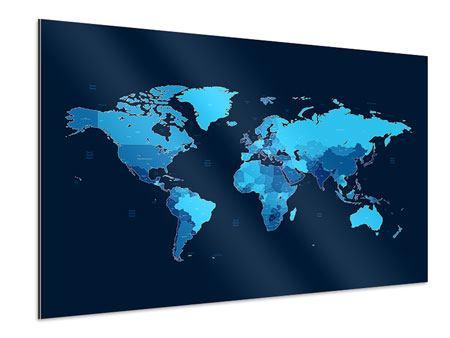 Aluminiumbild Weltkarte