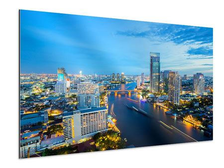 Aluminiumbild Skyline Bangkok in der Abenddämmerung