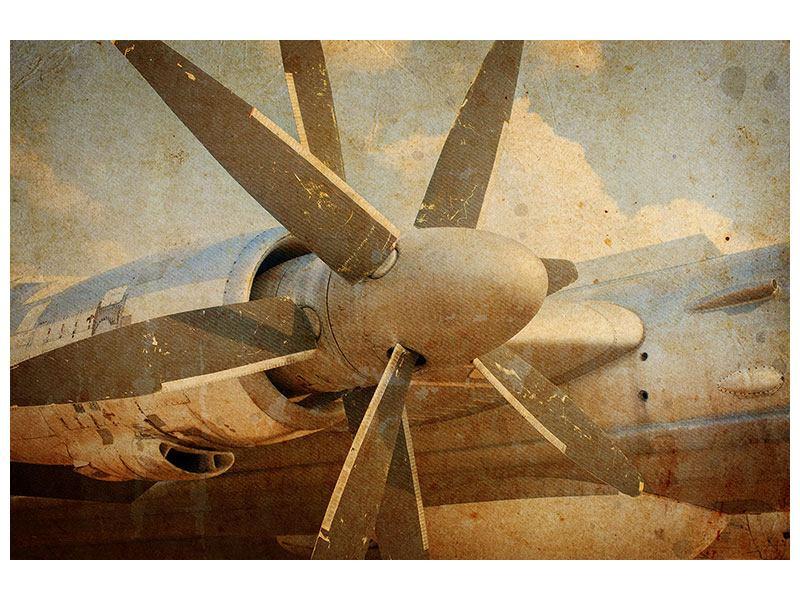 Aluminiumbild Propellerflugzeug im Grungestil