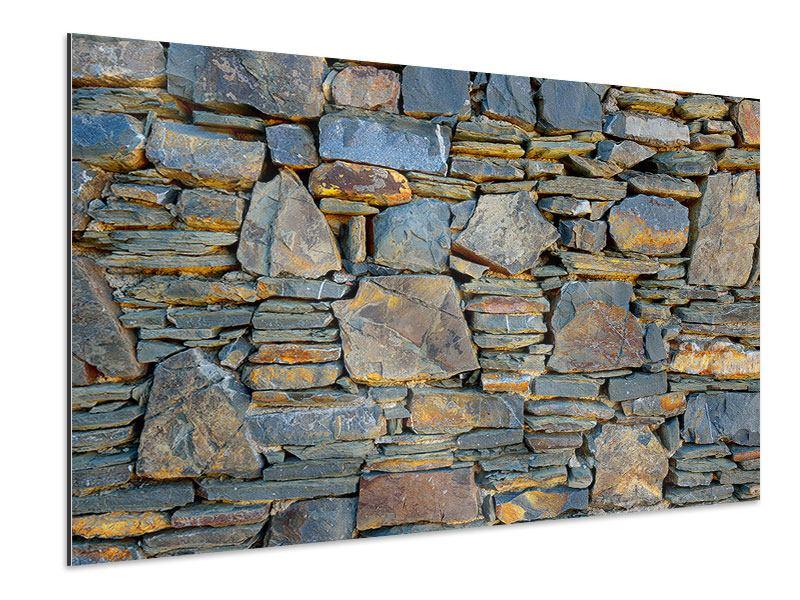 Aluminiumbild Natürliche Steinmauer