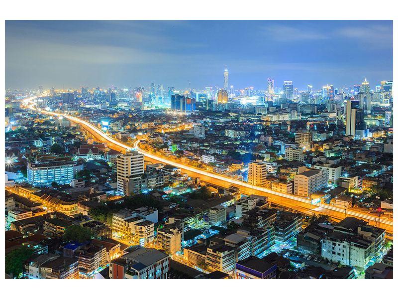 Aluminiumbild Skyline Bangkok im Fieber der Nacht