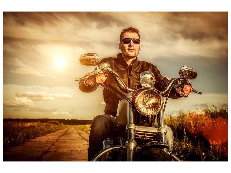Aluminiumbild Der Coole Biker