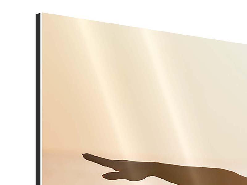 Aluminiumbild Yoga bei Sonnenuntergang