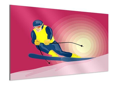 Aluminiumbild Retro-Skifahrer