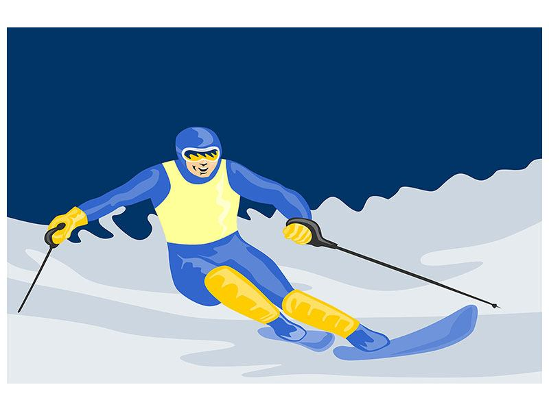 Aluminiumbild Skifahrer im Retrostyle