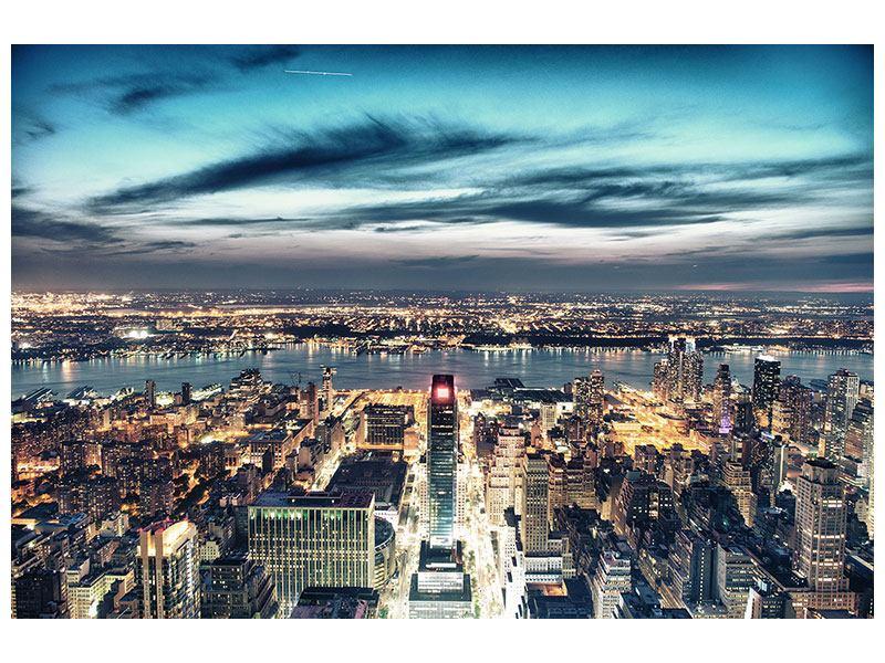 Aluminiumbild Skyline Manhattan Citylights
