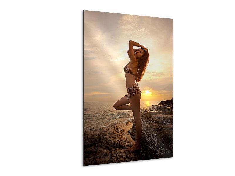 Aluminiumbild Bikini Schönheit bei Sonnenuntergang