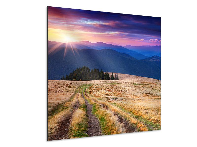 Aluminiumbild Sonnenuntergang in der Bergwelt