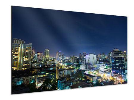 Aluminiumbild Skyline Nachts in Bangkok