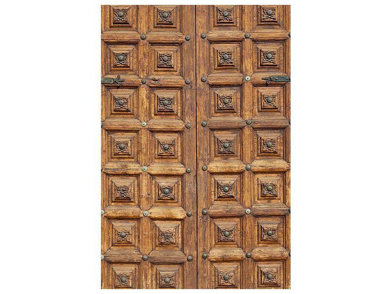Aluminiumbild Antike Holztür