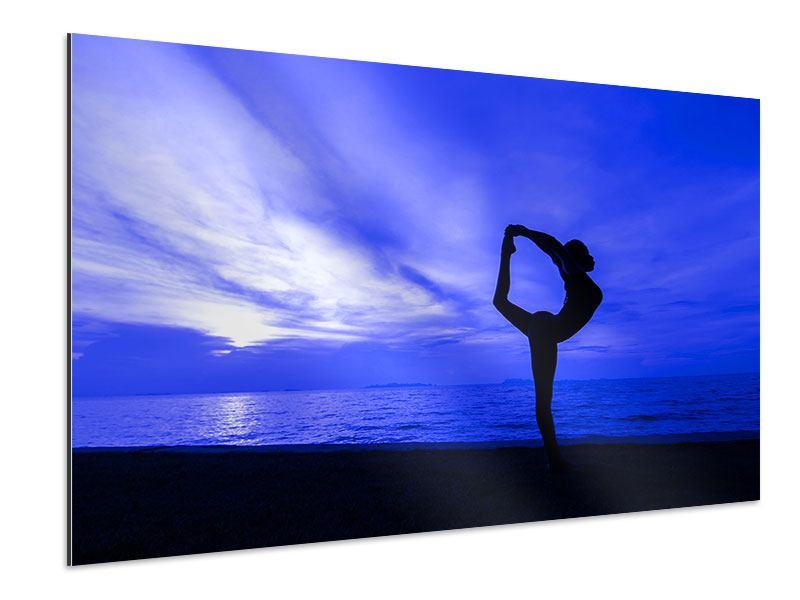 Aluminiumbild Yogaübung am Strand
