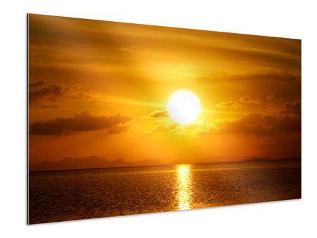 Aluminiumbild Sonnenuntergang See