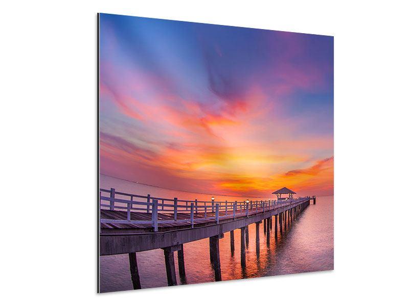 Aluminiumbild Die romantische Brücke bei Sonnenuntergang