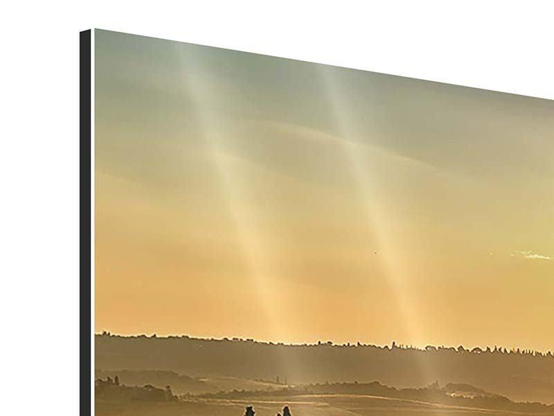 Aluminiumbild Sonnenuntergang im Gebirge