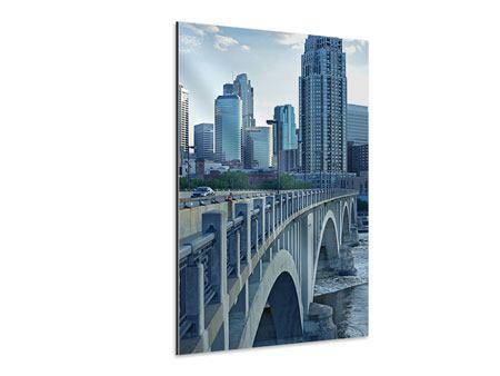 Aluminiumbild Die Brücke zur Grossstadt