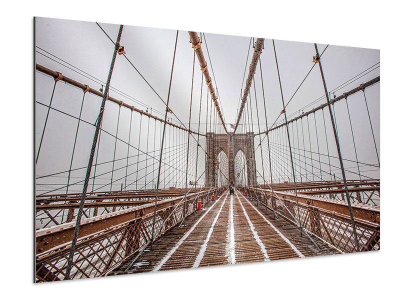 Aluminiumbild Auf der Brooklyn Bridge