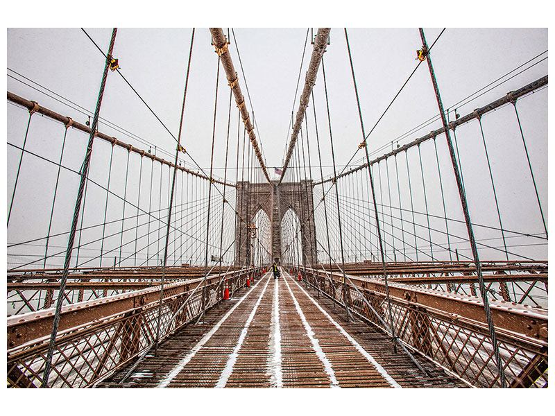 Aluminiumbild Auf der Brooklyn Bridge