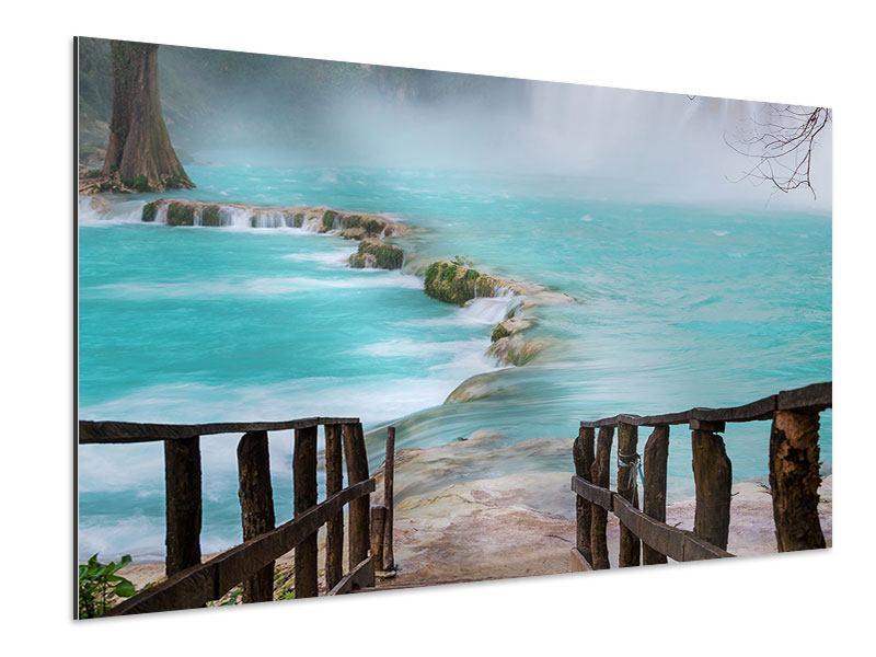 Aluminiumbild Haus am Wasserfall