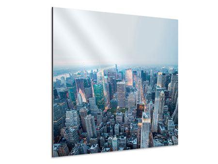 Aluminiumbild Skyline Manhattan in der Abenddämmerung