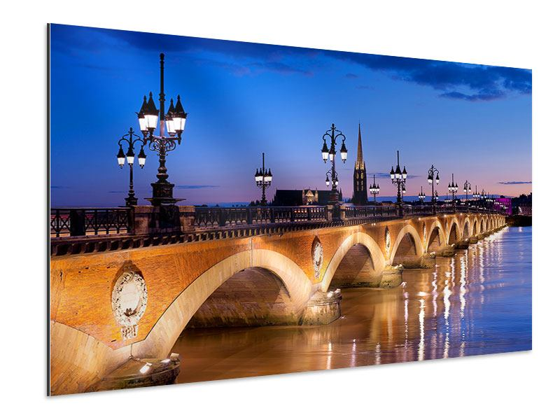 Aluminiumbild Pont De Pierre bei Sonnenuntergang