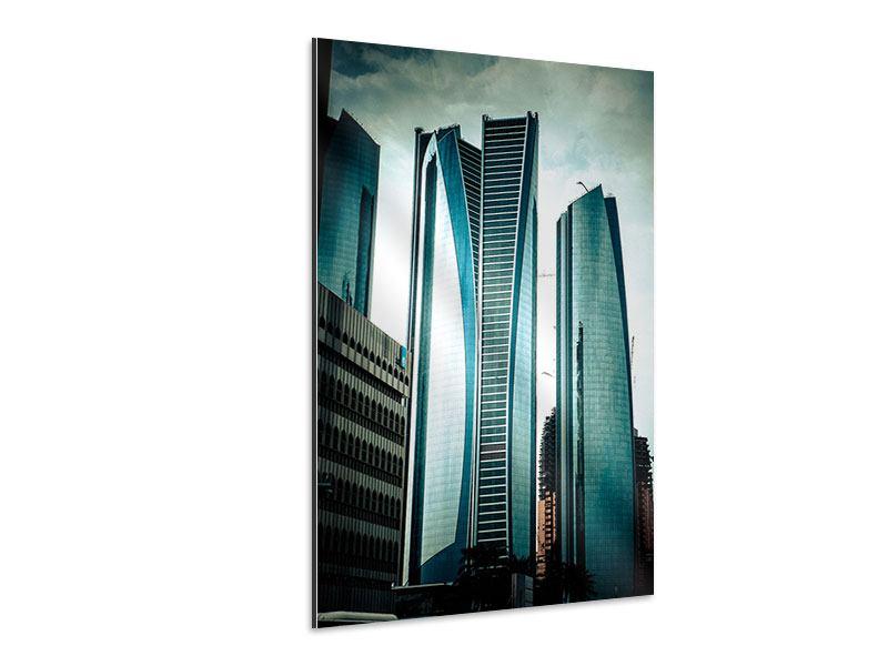 Aluminiumbild Luxus Wolkenkratzer in Abu Dhabi