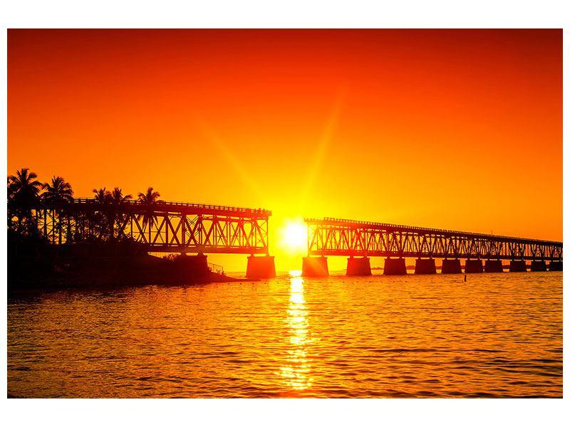 Aluminiumbild Sonnenuntergang an der Brücke