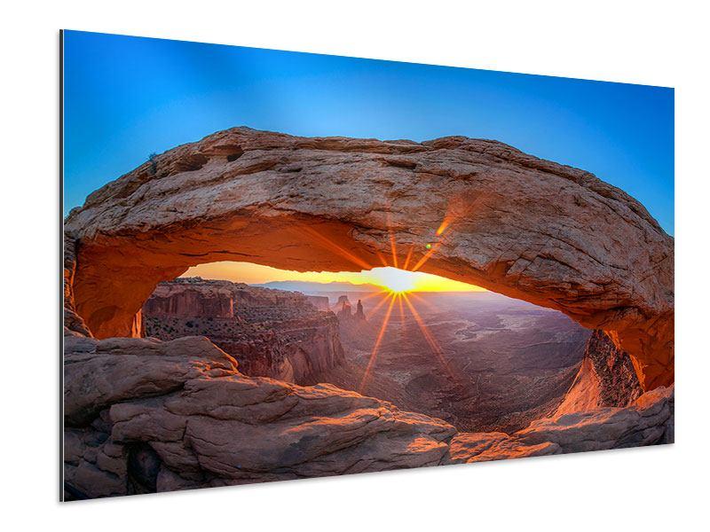 Aluminiumbild Sonnenuntergang am Mesa Arch