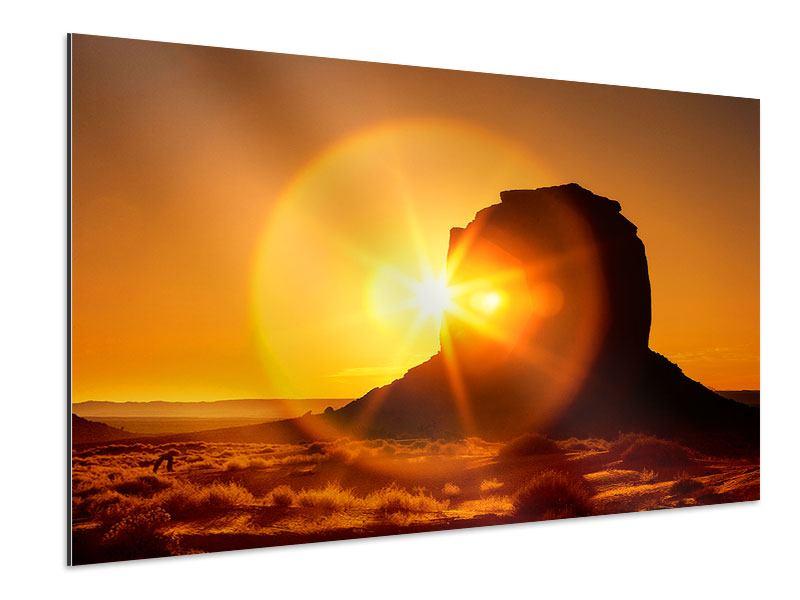 Aluminiumbild Sonnenuntergang Monument Valley